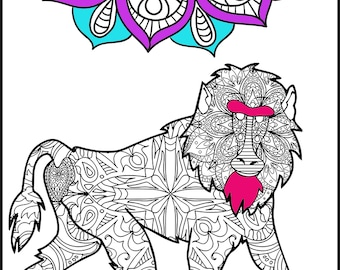 baboon animal coloring pages. Baboon  Adult Coloring Pages Page for Adults Animal Unique Printable page Turtle