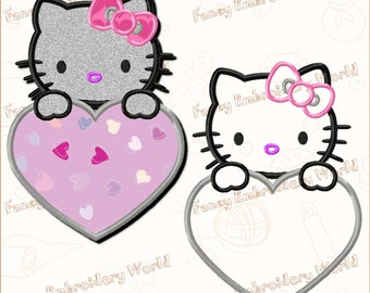 BOGO FREE! Hello Kitty applique embroidery design, machine embroidery design, embroidery designs. Instant download, 3 sizes, 8 formats #2015