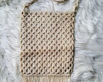 Vintage crochet fringe purse