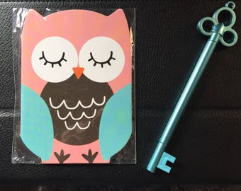 Owl notepad and key shaped pen