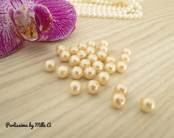 Set of 40 beautiful Pearl beige Majorca pearls pink 6 mm