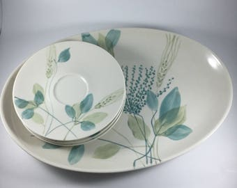 Merrileaf Oval Serving Platter and 3 Saucers by Red Wing China