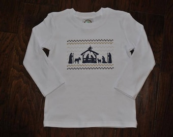 Faux Smocked Nativity Shirt