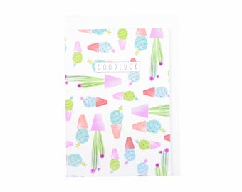 Cacti Print Good Luck Card