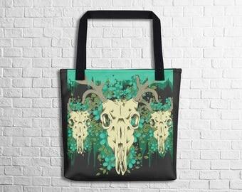Deer Skull Tote Bag Unique Art Design Tote Bag School Tote Bag Work Tote Bag Halloween Shopping Tote Bag Witty Novelty