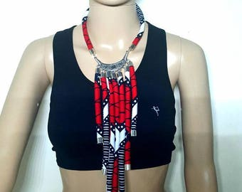 Print Necklace Fabric Necklace Bright Coloured necklace Ethnic Jewellery Tribal Collier en tissu wax