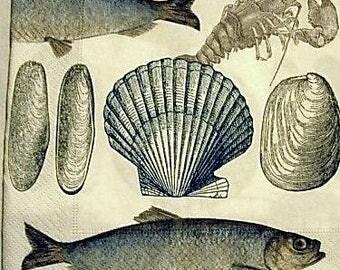 Shells and fish napkin
