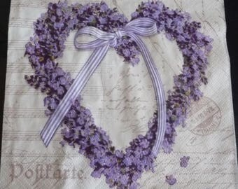 Heart napkin with Lavender flowers 2