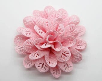 2 Pink Eyelet Baby Girl Flower Hair Clips Brooches 1 Pair
