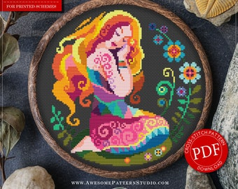 Zodiac Cross Stitch Pattern for Instant Download *P130 | Virgo Cross Stitch| Room Decor| Needlecraft Pattern| Easy Cross Stitch