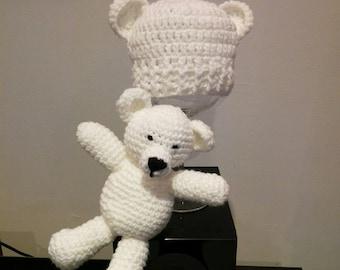 crocheted wool bear Hat
