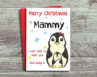Christmas Card From The Bump, Mammy To Be Card, First Christmas Card, Mummy To Be, Mammy Christmas Card