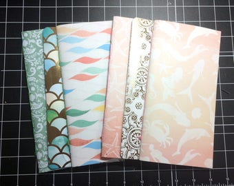 2x Travelers Notebook Midori Standard TN Inserts - Mermaid - 2 Blank Notebooks + 1 Folder + 1 Elastic Expansion Band