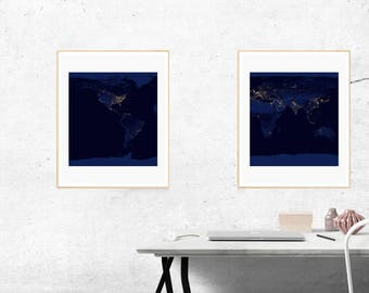 Night Earth Wall Prints, Set of 2 Prints, Astronomy Print, Earth From Space, Planet Wall Art, Space Art, Earth Print, Digital Prints