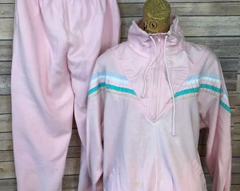 Vintage Lavon Pink Half Zip Sweatshirt and Matching Sweat Pants