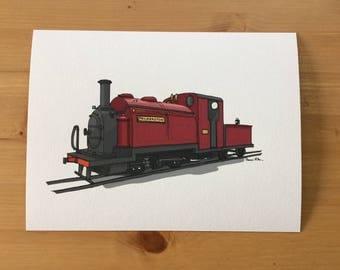 Ffestiniog Railway Palmerston Steam Locomotive Illustration Print