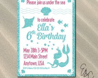 Under the Sea Birthday Party Invitation - Custom Invitation - Printable Invitation