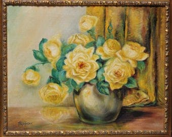 Original Oil or Acrylic Painting of Yellow Roses signed Thompson