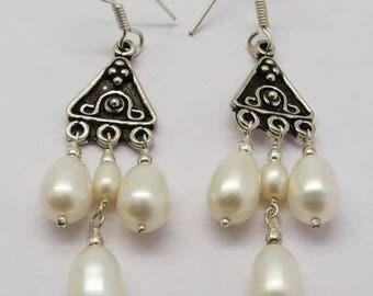 Earrings 925 Sterling Silver Pearls Drop Earrings 60mm Long