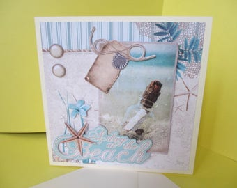 """""""La Plage"""" hand made 3D card"""