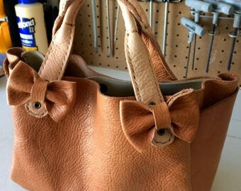 Leather Hand Bag with Bows