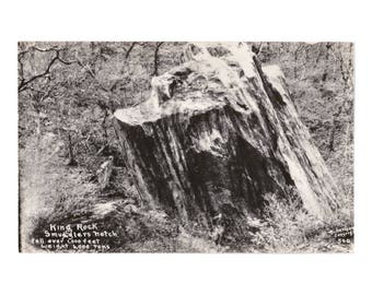 """VERMONT: King Rock at Smugglers Notch """"Fell over 1,000 feet  weight 6,000 tons"""" - Real Photo Postcard, ca. 1940s"""