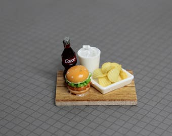 Dollhouse Miniature Food Set, Hamburger, Potato Chips, Coke, Premium Quality Unique Handcrafted Clay Food, Tiny Fake Food, Barbie Size Food.