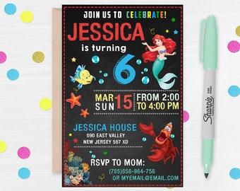 Little Mermaid Invitation, Disney Princess Ariel Invite, The Little Mermaid Birthday Invitation, Disney Princess Ariel Birthday Party, Ariel