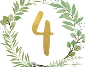 Greenery and Gold Table Numbers 1-20
