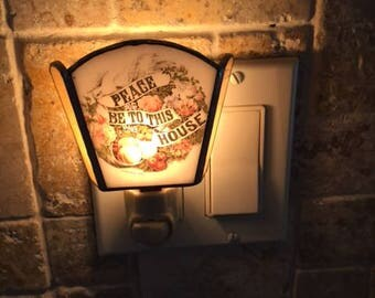 Vintage Stained Glass Night Light Peace Be To This House Currier & Ives Design