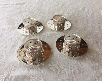 Vintage Party Lite Glowing Star Tealight Set and Napkin Ring Set of 4