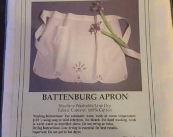 Vintage BNNU Battenburg Apron, Cotton Apron, Vintage Apron
