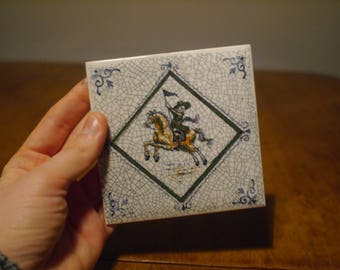 Tile Whit a Man on a Horse
