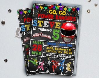 Power Ranger Invitation-Power Ranger Birthday-Power Ranger Party-Power Ranger Birthday Invitation-Power Ranger Birthday Party-Ranger Card