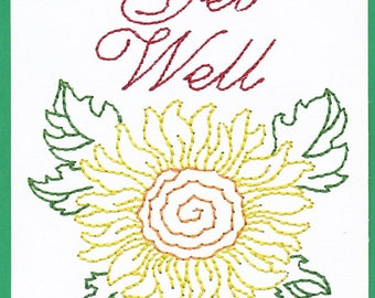 Get Well Machine Embroidered Flower Card