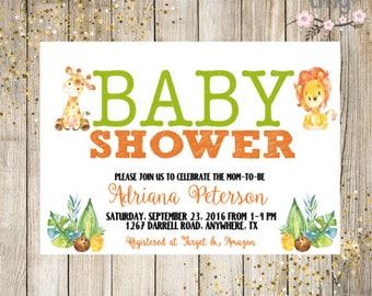 Safari Baby Shower Invitation, Giraffe Baby Shower, Baby Shower Invites, Gender Neutral Baby Shower, Digital File