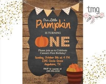 Pumpkin Birthday Invitation, Fall Birthday Invitation, Little Pumpkin, Digital File, Our little Pumpkin