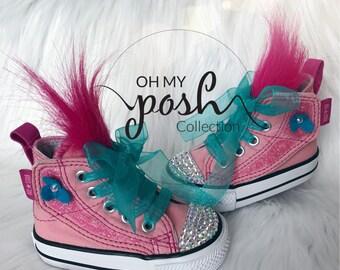 Trolls Shoes Converse Poppy Bling Birthday Custom Chuck Taylor