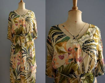Tropical Vintage Set / 1980s Blouse and Skirt