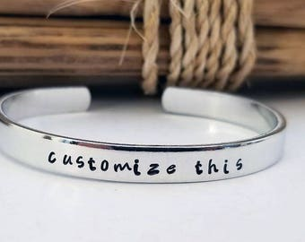 Hand Stamped Bracelet, Customized Aluminum Skinny Cuff, Bangle Bracelet, Personalized Gift, Graduation Gift, Birthday, Mothers Day,
