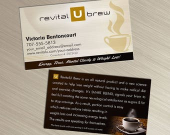 Revital U Brew Business Cards - Tan Design - Durable 16pt - Rich Matte Finish -PRINTED and SHIPPED directly to YOU!