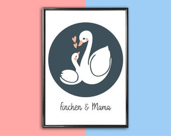 Personalized image swans | Mother's day