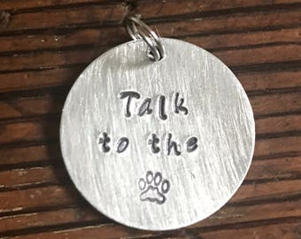 """Talk To The Paw - Medium 1"""" Custom Pet Id Tag - Personalized Hand-Stamped Dog Name Tag"""