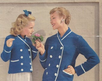 Vintage knitting pattern 1950s mother and daughter blazer in six sizes Lavenda No. 766