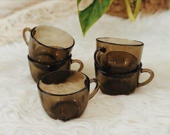 Vintage set of five smokey glass espresso cups | vintage set of 5 tea cups | vintage set of 5 glass coffee cups | set of five glass cups