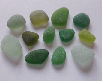 French sea 12 glasses, different shades of green / sea glass french