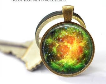 Green NEBULA NIGHT SKY Key Ring • Outer Space • Universal Space • Galaxy • Milky Way • Gift Under 20 • Made in Australia (K376)