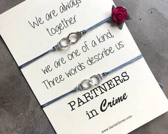 Partners in crime bracelet, Friendship bracelet, Best friend gift, Gift for friend, friendship bracelet set, Wish bracelet, Friendship, A40