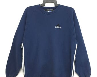 Rare!! Vintage 90s ADIDAS Sweatshirt Pullover Large Size Navy Blue Color