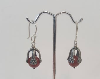 Vintage Sterling Silver And Carnelian Dangle Earrings